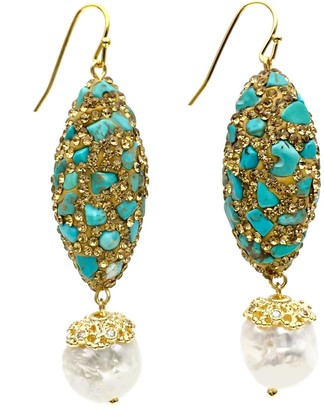 Farra Rhinestone Bordered Turquoise With Freshwater Pearls Earrings