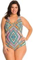 Jessica Simpson Plus Swimwear Plus Size Venice Beach Cut Out Halter One Piece Swimsuit 8140034