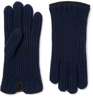 Loro Piana Leather-trimmed Ribbed Cashmere Gloves - Blue