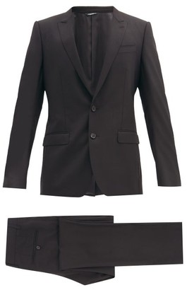 Dolce & Gabbana Martini Single Breasted Two Piece Virgin Wool Suit - Mens - Black