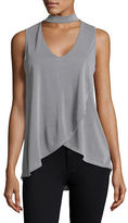Design Lab Lord & Taylor Choker V-Neck Crossover Tank Top