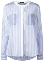 Steffen Schraut collarless striped shirt