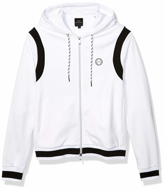 A|X Armani Exchange Men's Polyester Fleece Zip Up Hoodie with Draw String