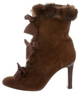 Philosophy di Alberta Ferretti Suede Fur-Trimmed Ankle Boots