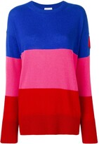 Moncler stripe logo patch cashmere jumper
