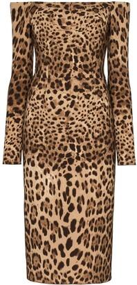 Dolce & Gabbana Off-The-Shoulder Leopard Print Midi Dress