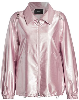 Akris Francesca Lurex Satin Anorak Jacket