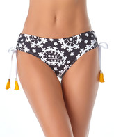 Anne Cole Women's Bikini Bottoms BKWH - Black & White Paisley Tassel Alex Side-Tie Bikini Bottoms - Women