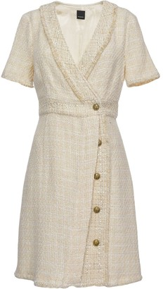 Pinko Wrap-Front Tweed Dress