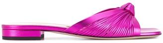 Gucci metallic leather flat sandals