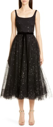 Marchesa Glitter Star Tulle Cocktail Dress