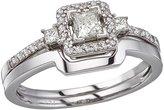 Direct-Jewelry 14K Gold Princess Diamond Band Ring Set (Size 5.5)