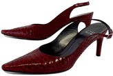 Stuart Weitzman Red Leather Snakeskin Slingbacks