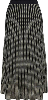 Iris & Ink Emily Pleated Metallic Crochet-knit Midi Skirt