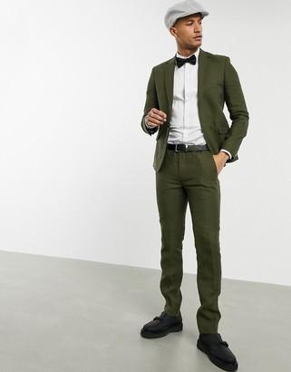 Shelby & Sons slim suit trousers in khaki linen