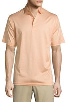 Peter Millar Lisle-Knit Thin-Stripe Polo Shirt, Orange