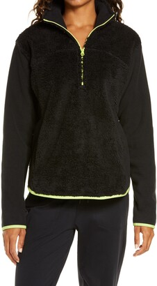 Zella Glacier Furry Fleece Quarter Zip Jacket