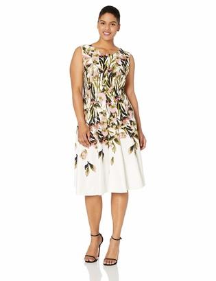 Gabby Skye Women's Plus Size Sleeveless Round Neck Printed Fit & Flare Dress
