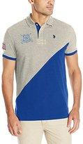 U.S. Polo Assn. Men's Slim Fit Diagonal Color Block Pique Polo Shirt