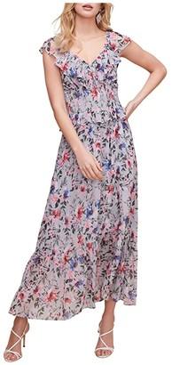 ASTR the Label Double V Flutter Midi Dress (Blue/Green Multi Floral) Women's Dress