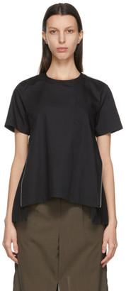 Sacai Black Poplin Zip T-Shirt