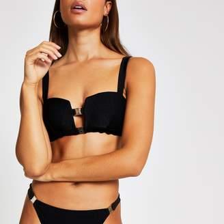 River Island Womens Black rib double clip cami bikini top