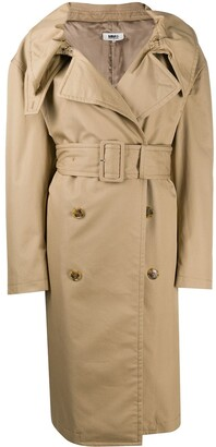 MM6 MAISON MARGIELA Scrunched Lapel Trench Coat