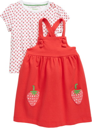 Boden Strawberry Patch Graphic Tee & Pinafore Dress Set