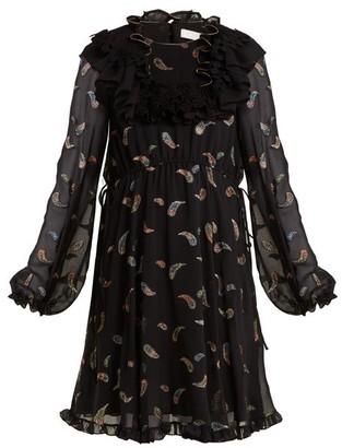 Chloé Paisley-jacquard Chiffon Dress - Womens - Black