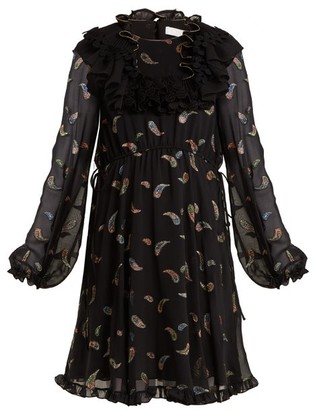 Chloé Paisley-jacquard Chiffon Dress - Womens - Black