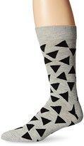 Happy Socks Men's 1pk Unisex Combed Cotton Crew-Gray Triangle