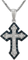 FINE JEWELRY 1/5 CT. T.W. White and Color-Enhanced Blue Diamond Sterling Silver Cross Pendant Necklace