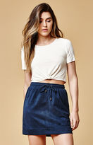 MinkPink Faux Suede Drawstring Skirt