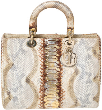 Christian Dior Beige/Gold Python Large Lady Tote