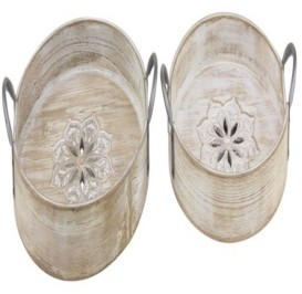 Rosemary Lane Set of 2 Natural Round Wooden Trays