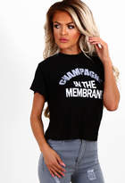Pink Boutique Champagne Black Slogan Cropped T Shirt