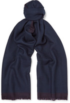 Ermenegildo Zegna Fringed Two-Tone Wool Scarf