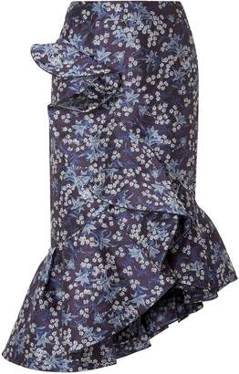 Johanna Ortiz Belladonna Ruffled Floral-jacquard Skirt