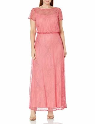 Brianna Women's Plus Size Blouson Short Sleeve All Over Beaded Long Dress