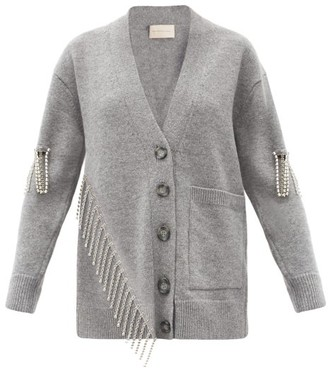 Christopher Kane Asymmetric Crystal-embellished Wool Cardigan - Grey