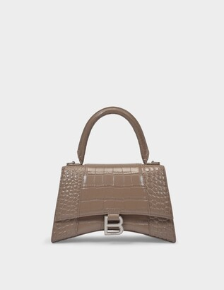 Balenciaga Hourglass Top Handle S Bag in Mink Grey Shiny Embossed Croc Calfskin
