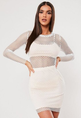 Missguided Sxf X White Fishnet Bodycon Mini Dress
