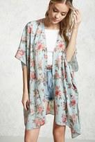 Forever 21 FOREVER 21+ Satin Floral Print Kimono