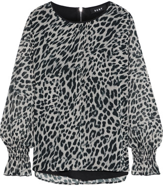 DKNY Gathered Leopard-print Georgette Blouse