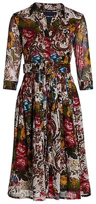 Samantha Sung Audrey 2 Floral-Print Three-Quarter Sleeve Midi Shirtdress