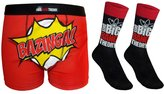 The Big Bang Theory Official Gift Mens Dress Socks & Boxer Shorts Logo