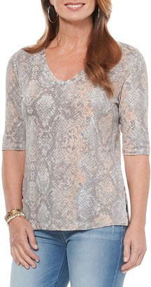 Democracy Snake Print V-Neck Top