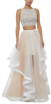 Glamour By Terani Juniors' Two-Piece Beaded Top & A-Line Skirt Gown