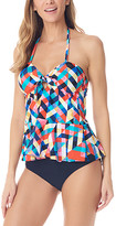 Sea and Sand Women's Bikini Bottoms - Pink & Blue Geometric Peplum Halter Tankini Top & Black Bottoms - Women