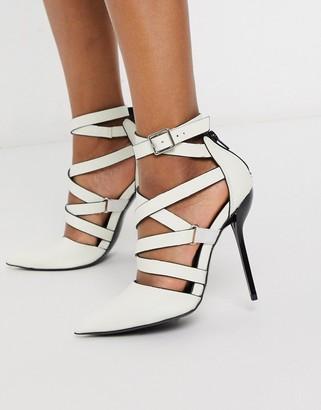 ASOS DESIGN Poke caged stiletto high heels in glow in the dark